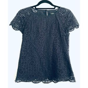 J. Crew Women's Short Sleeve Navy Blue Lace Top 00